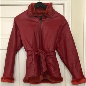 Jackets & Blazers - Vintage red leather faux fur lined jacket